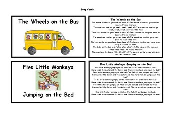Song Cards for Preschool and Beyond!