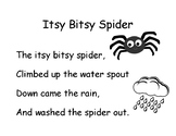 Song Chart: Itsy Bitsy Spider