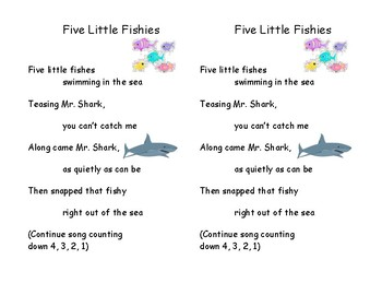 Song Chart & Minis: Five Little Fishies