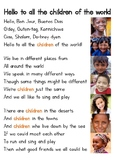 Song Chart for 'Hello to All the Children of the World'