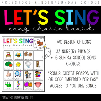 Song Choice Board for Preschool/Pre-K/Kinder/Special Education