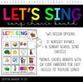 Song Choice Board for Preschool/Pre-K/Kinder/Special Education
