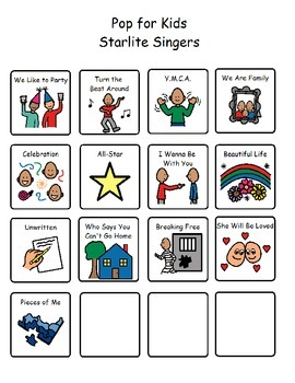 Song Choices - Pop for Kids Starlite Singers