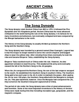 Song Dynasty in ancient China Article and Assignment