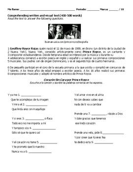Song Exam - Corazón Sin Cara by Prince Royce