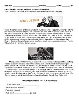 Song Exam: Traidora by Gente d' Zona ft. Marc Anthony