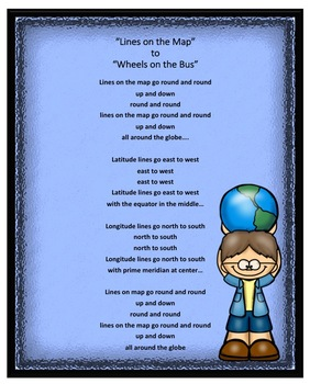 """Song I created to the tune of """"Wheels on the Bus""""  Latitude and Longitude"""