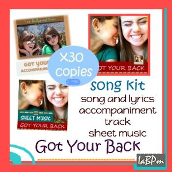 Song Kit: Got Your Back: recording, lyrics, sheet music, a