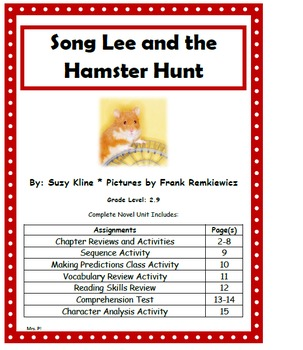 Song Lee and the Hamster Hunt Complete Novel Unit