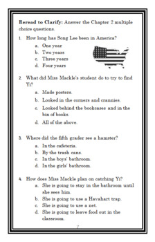 Song Lee and the Hamster Hunt (Suzy Kline) Novel Study / Comprehension