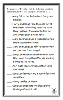"Song Lee and the ""I Hate You"" Note (Suzy Kline) Novel Study / Comprehension"