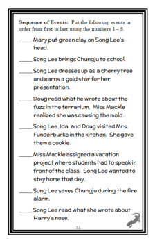 Song Lee in Room 2B (Suzy Kline) Novel Study / Comprehension (18 pages)