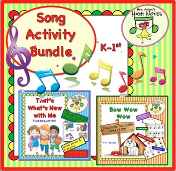 Song Lesson Plan Bundle, K-1st: Bow, Wow, Wow and That's What's New with Me