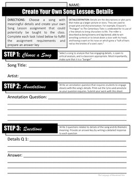 Song Lessons: Analyzing Details Through Pop Music