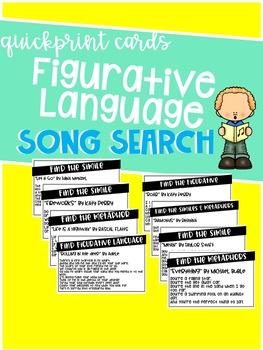 Song Lyric Figurative Language Search FREEBIE