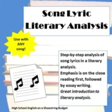 Song Lyric Literary Analysis Essay Writing with Mini Lesson PDF