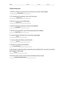 Song Lyric Poetic Elements Practice