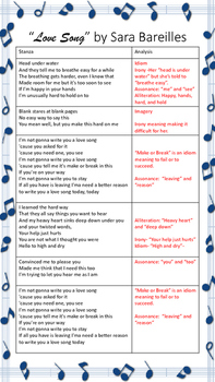 """Song Lyric Poetry Analysis: """"Love Song"""""""