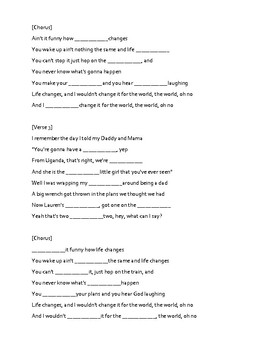 Song Lyrics Activity- Life Changes by Thomas Rhett
