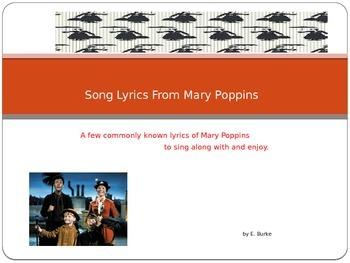 Song Lyrics From Mary Poppins