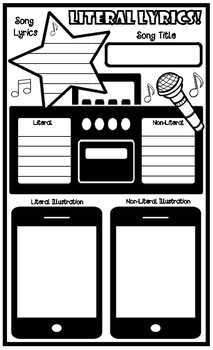 Song Lyrics Literal and Non-Literal Graphic Organizer