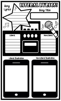 Song Lyrics Literal and Non-Literal Graphic Organizer