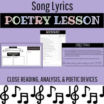 Song Lyrics Poetry Assignment--Fun & Engaging Poetry Lesson--CCSS--Grades 7-12