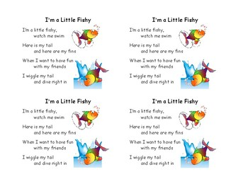 Song Minis I M A Little Fishy By Ms Ashleys Creations Tpt