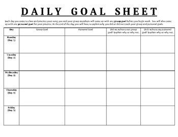 song performance project daily goal sheet by miss welsh s music shop