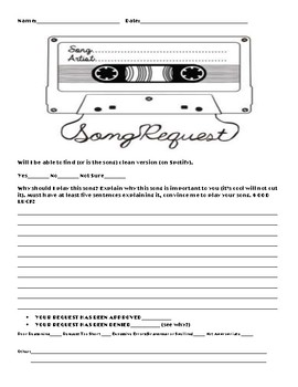 Song Request Extra Writing Opportunity Sheet