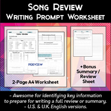 Song Review Worksheet