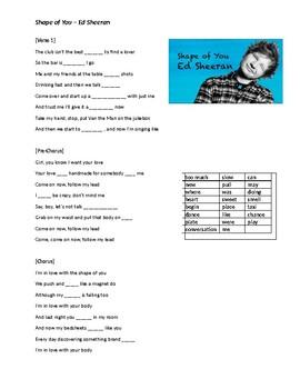 Song  - Shape of You - Ed Sheeran