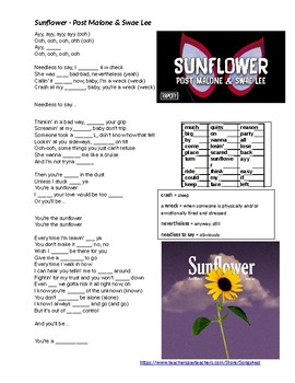 Song - Sunflower - Post Malone