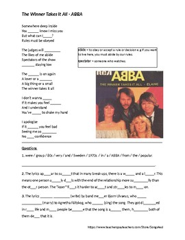 Song - The Winner Takes It All - ABBA