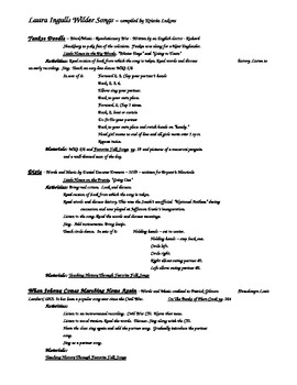 Song Unit from the Writings of Laura Ingles Wilder