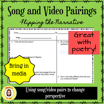 Song/Video Pairings- Flipping the Narrative/ Great for Secondary Poetry