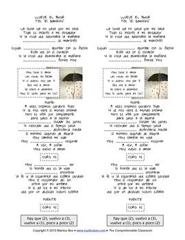 """Song activity: Llueve el amor by Tito """"El Bambino"""""""