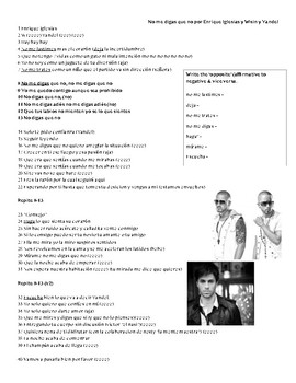 Song activity - No me digas que no by Enrique Iglesias (with Wisin y Yandel)