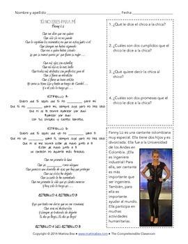 Song activity: Tú no eres para mí by Fanny Lu