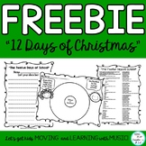 "Music and Literacy Christmas Activity ""The Twelve Days of"
