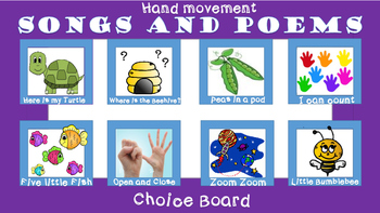 Song and Poem Choice board for Autism and special needs