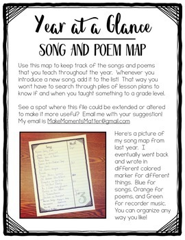 Song and Poem Map to Keep Track of Content Taught In Music Class