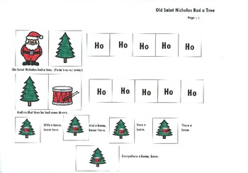 Song board - Old Saint Nicholas Had a Tree/Christmas version of Old McDonald