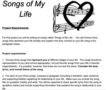 Song of My Life Narrative Five Paragraph Essay Lesson & Rubrics