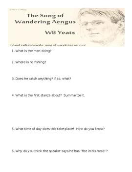 Song of Wandering Aengus Quiz