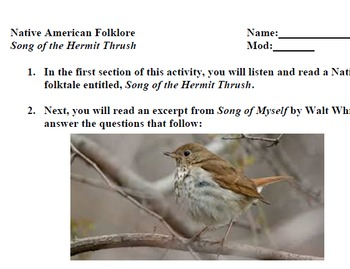 Song of the Hermit Thrush; Native American folktale; poetry link