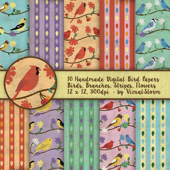 Songbird Papers - 10 Handmade Floral Birds on Branches