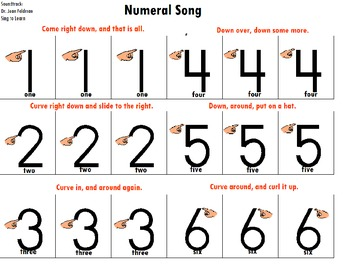"""Songboard - Dr. Jean's 'Numeral Song"""""""