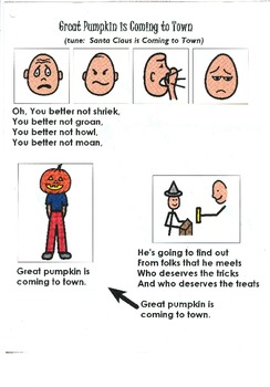"""Songboard - """"Great Pumpkin is Coming to Town"""""""