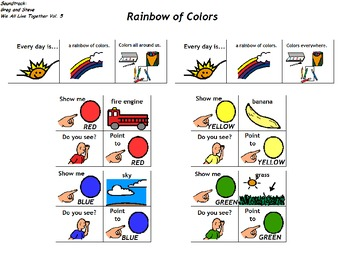 """Songboard - Greg and Steve's """"Rainbow of Colors"""""""